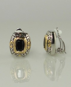 Clip On Earrings Black Antique Design