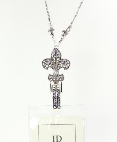 Fleur De Lis Lanyard ID Badge Holder With Clip
