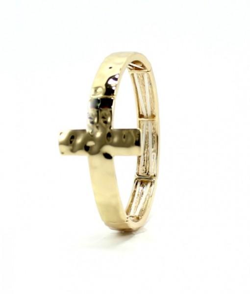 Cross Bracelet Hammered Gold Tone Stretch