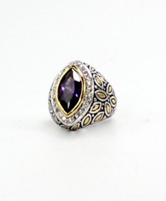 Amethyst Pave Crystals Ring Two Tone