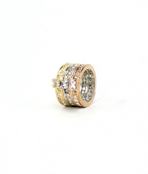 rystal Ring Tri Color Ring Triple Band