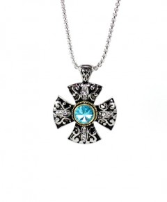 Aquamarine Necklace Pendant Crystal Cross