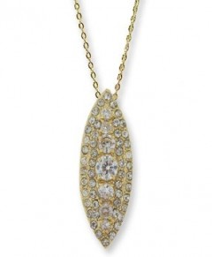 Tear Drop Diamond Pendant Necklace Gold Tone