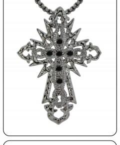 Silver Cross Necklace Black Stones