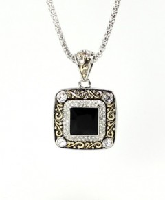 Antique Necklace Black Onyx With Cubic Zirconia