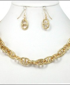 Gold Chain link necklace and earrings set.