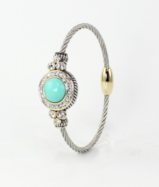 Silver Turquoise Bangle Bracelet Two Tone