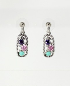 Art Deco Earrings Multi Stone