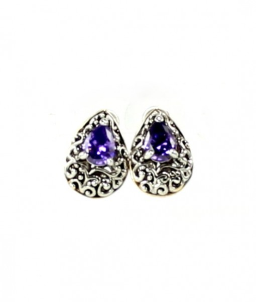 Vintage Earrings Amethyst Antique Design