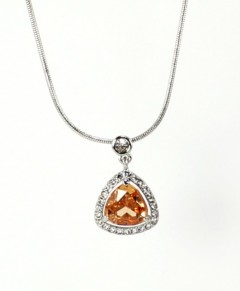 Topaz Necklace Pendant Champagne