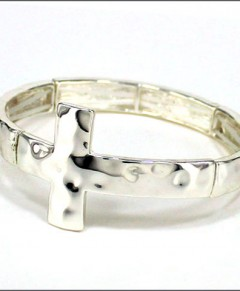 Sideways Cross Bracelet Stretch Hammered Silver Tone