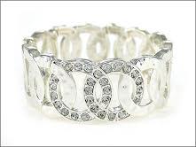 Silver Cuff Bracelet Crystal Stretch