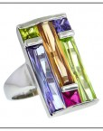 Deco Light Multi Stone CZ Rectangular Ring