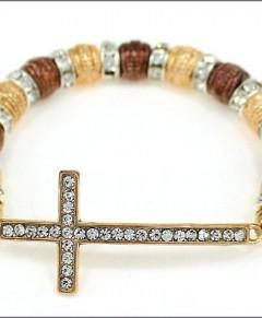 Sideways Cross Bracelet Crystals Gold Silver Bronze