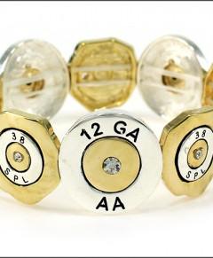 Bullet Bracelet Stretch Gold Silver Tone