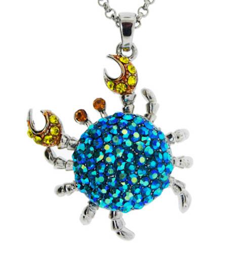 Crab Necklace Blue Aurora Borealis Crystals