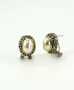 Vintage Pearl Earrings Antique Setting