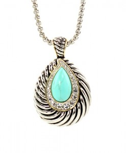 Turquoise Necklace Pendant Tear Drop Design