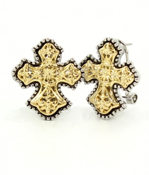 Cross Earrings Gold And Silver Tone French Clip