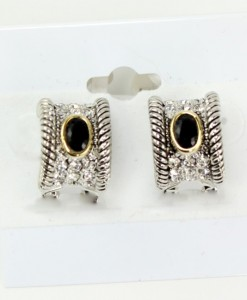 Black French Clip Rhinestone Earrings