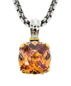 Champagne Topaz Square Two Tone Necklace