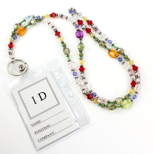 Id Card Beads: Lanyard Beaded Id Holder Eyeglass Holder N2561