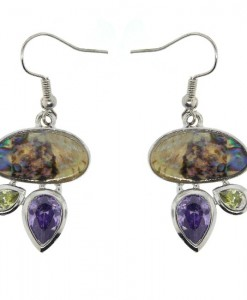 Abalone Earrings Contemporary Amethyst Peridot CZ's