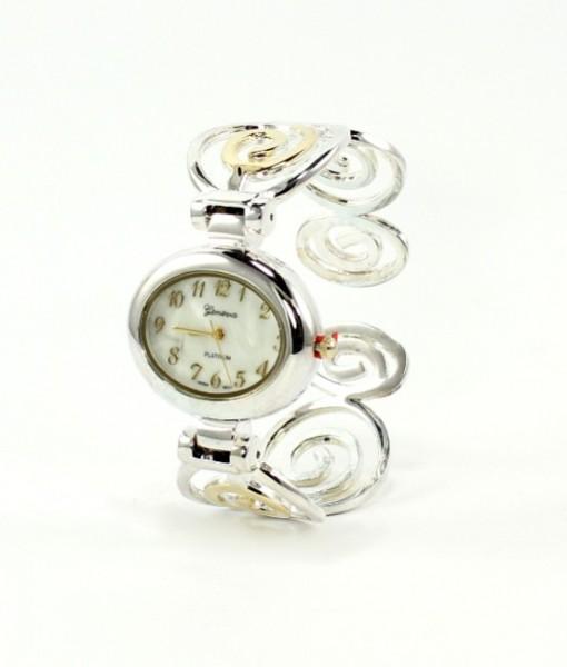 Art Deco Cuff Watch Gold And Silver Swirls