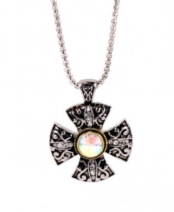 Cross Necklace Celtic Pendant Aurora Borealis