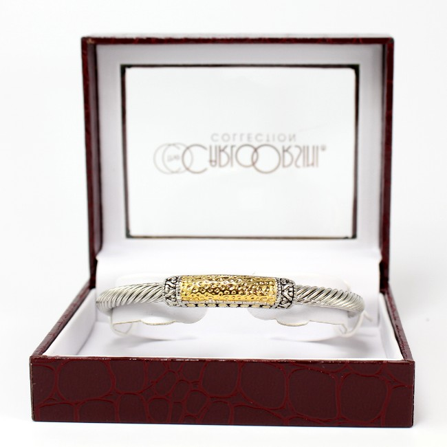 Hammered-Gold-Silver-Tone-Cable-Bracelet