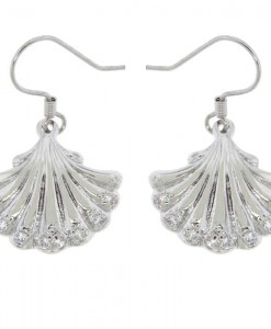 Shell Earrings Silver With Rhinestones