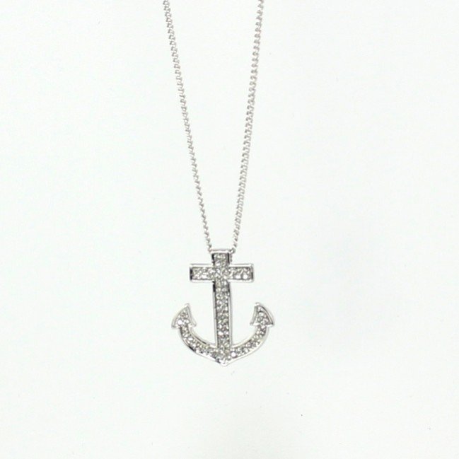 Anchor Necklace With Rhinestones Silver Tone N4230