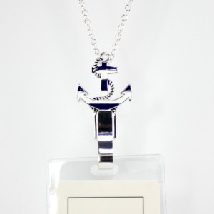 Anchor Lanyard Badge Id Holder Silver Tone