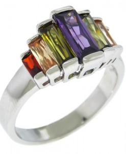 Art Deco Ring Baguettes Dark Multi Stone