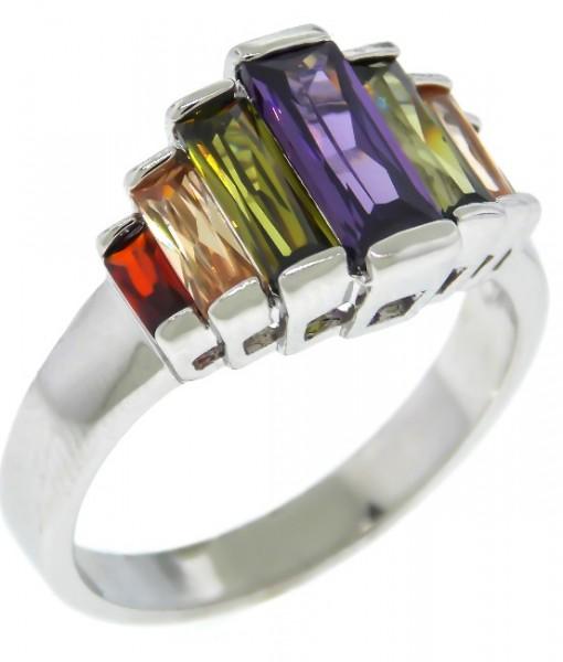 Art Deco Ring Baguettes Dark Multi Stone