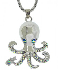 Silver Octopus Necklace Sea Life Jewelry Pendant