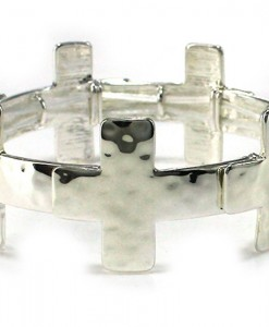 Cross Bracelet Silver Hammered Sideways Stretch