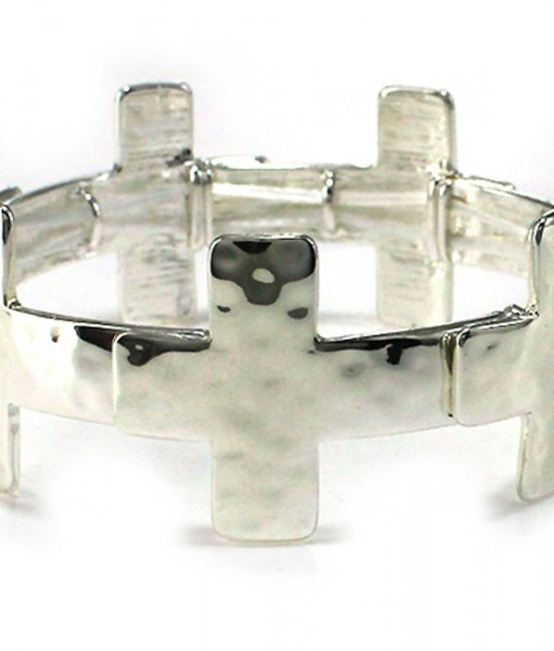 Cross Bracelet Silver Hammered Sideways Stretch