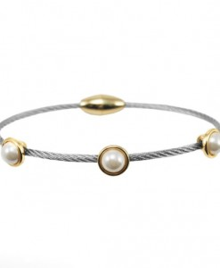 Pearl Cable Bracelet Dainty With Magnetic Clasp