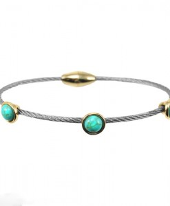 Turquoise Cable Bracelet Dainty With Magnetic Clasp