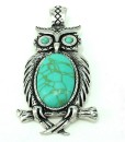 Owl Pendant Turquoise Silver Magnetic Clasp