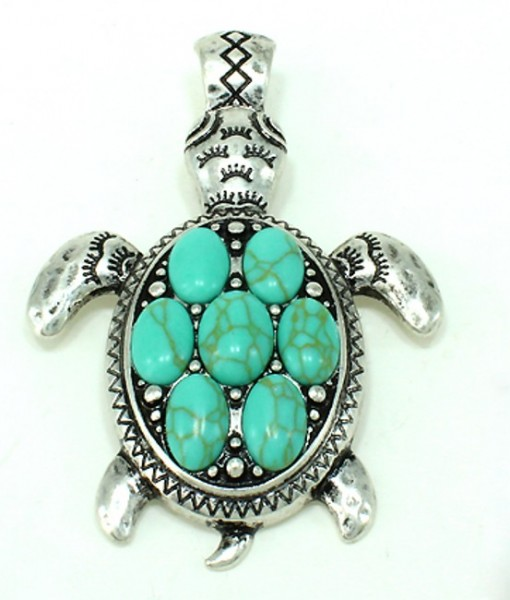 Turtle Pendant Turquoise Silver Magnetic Clasp