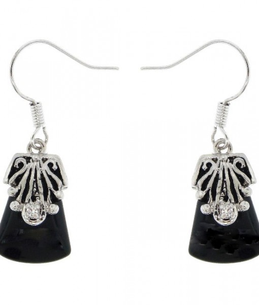 Black Onyx Earrings Antique Silver Tone Dangly