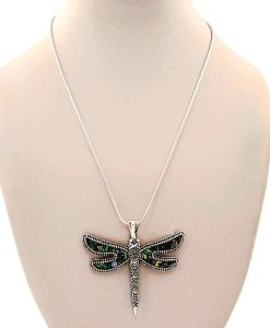 Dragonfly Necklace Pendant Abalone Silver Tone