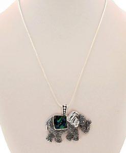 Elephant Necklace Abalone Pendant Silver Tone