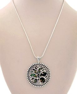 Tree of Life Necklace Pendant Abalone Silver Tone