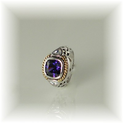 Amethyst Ring Cubic Zirconia With Pave Crystals