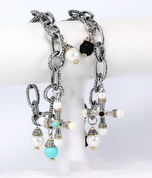 cross bracelet with pearls and toggle bracelet