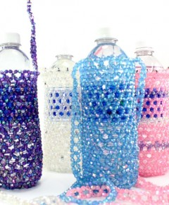 Beaded Water Bottle Holder Aurora Borealis Beads
