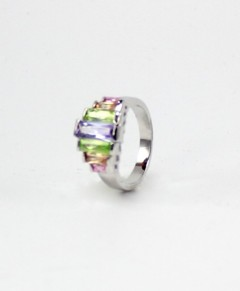 Art Deco Ring Silver Tone Light Multi